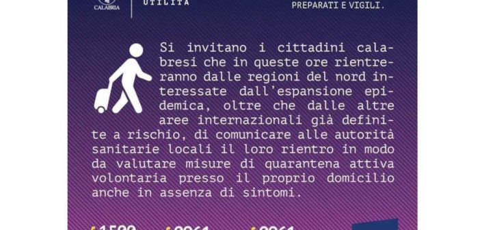 Coronavirus Informazioni Calabria Contatto